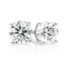 Stud Earrings with 3/4 Carat TW of Diamonds in 18ct White Gold