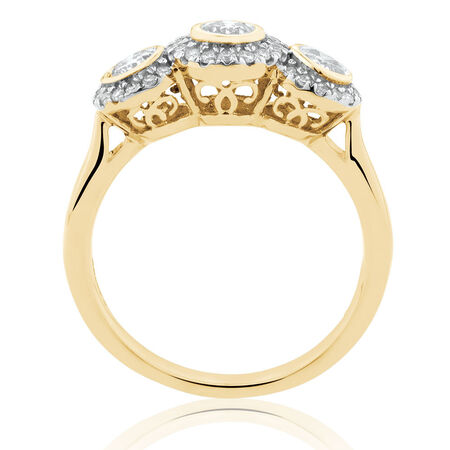 Ring with 0.80 Carat TW of Diamonds in 10ct Yellow Gold