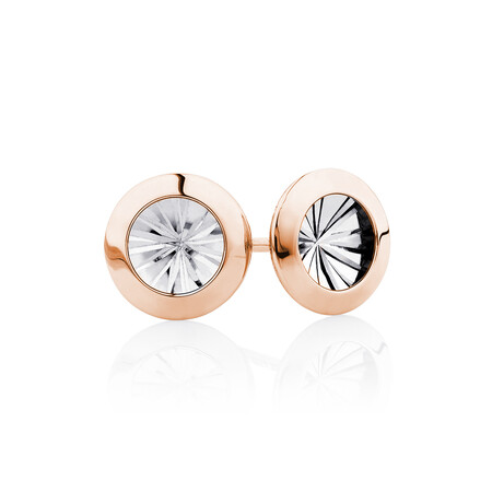 Stud Earrings in 10ct Rose & White Gold