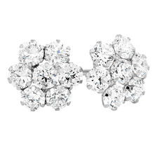 Cluster Stud Earrings with Cubic Zirconia in 10ct White Gold