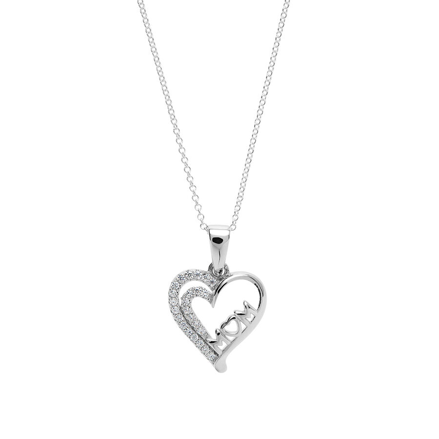 """Mum"" Heart Pendant with White Cubic Zirconia in Sterling Silver"