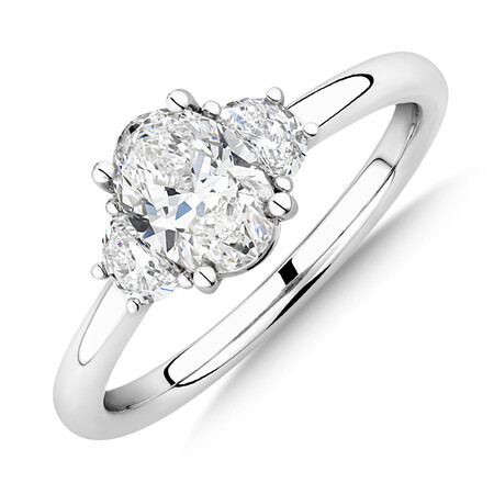 Sir Michael Hill Designer Three Stone Oval Engagement Ring with 1.04 Carat TW of Diamond in 18ct White Gold