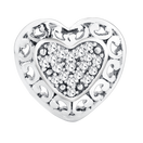 Diamond Set Filigree Heart Charm