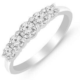 Five Stone Ring with 3/4 Carat TW of Diamonds in 14ct White Gold