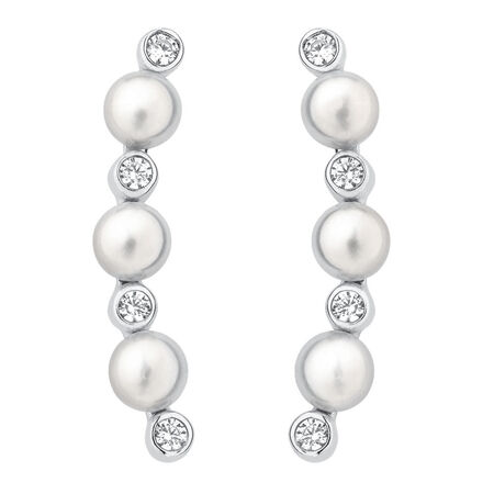 Ear Climbers with Cultured Freswater Pearls & Cubic Zirconia in Sterling Silver