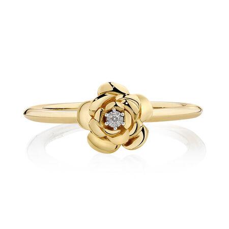 Diamond Set Flower Stacker Ring in 10ct Yellow Gold