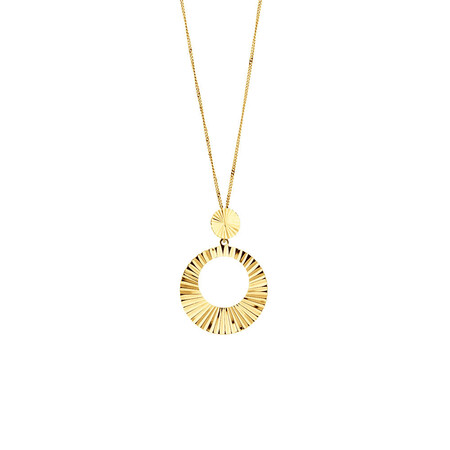 Circle Drop Pendant in 10ct Yellow Gold