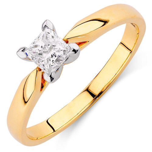 Evermore Solitaire Engagement Ring with 0.50 Carat TW Diamond in 14ct Yellow & White Gold