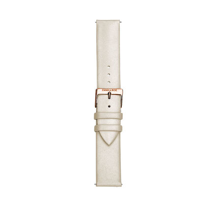 Large Watch Strap in Cream Leather & Rose Tone Stainless Steel