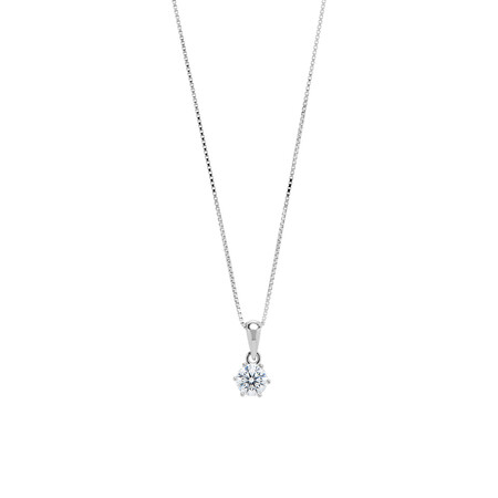 Circle Pendant with White Cubic Zirconia in Sterling Silver