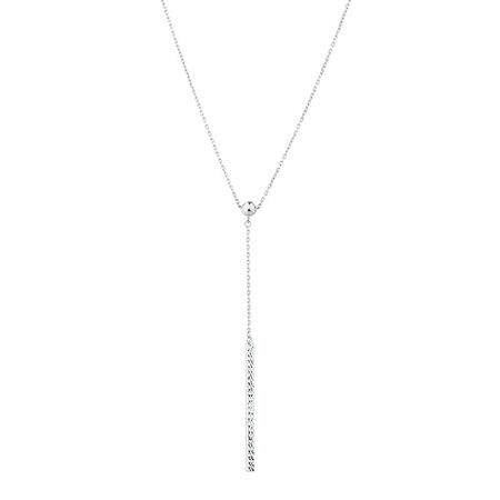 Adjustable Bar Necklace in 10ct White Gold