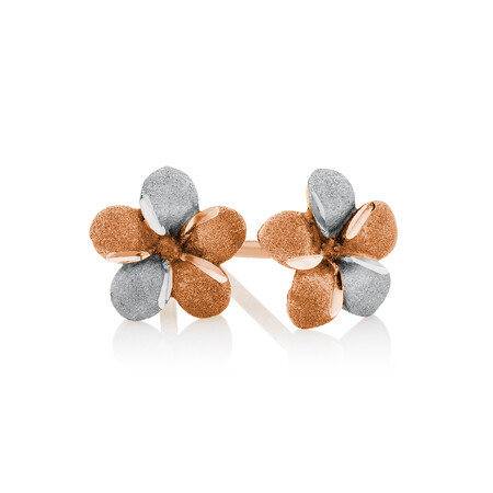 Flower Stud Earrings in 10ct Rose & White Gold
