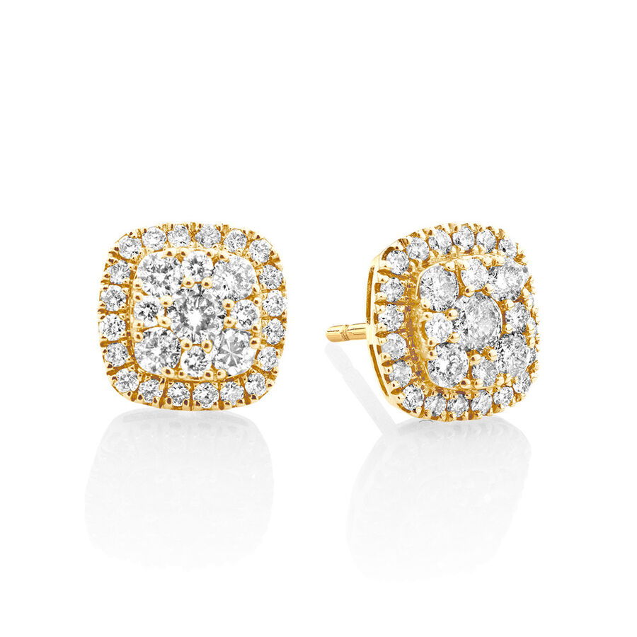 Cluster Stud Earrings with 1 Carat TW of Diamonds in 10ct Yellow Gold