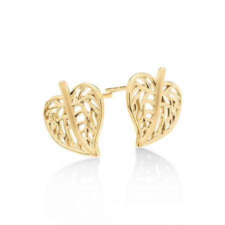 Heart Leaf Stud Earrings in 10ct Yellow Gold