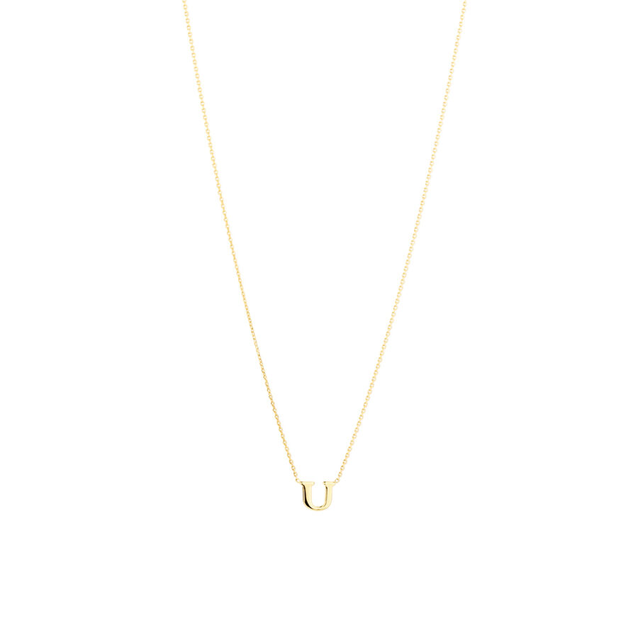"""""""U"""" Initial Necklace in 10ct Yellow Gold"""