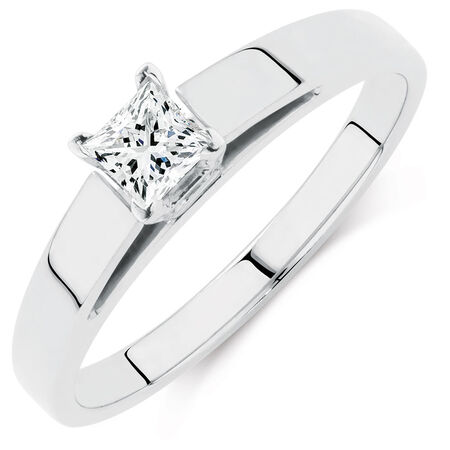 Solitaire Engagement Ring with a 0.23 Carat Diamond in 14ct White Gold