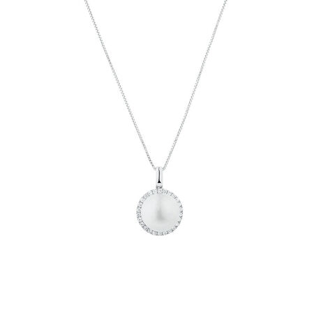 Pendant with 0.21 Carat TW of Diamonds & a Cultured Freshwater Pearl in 10ct White Gold