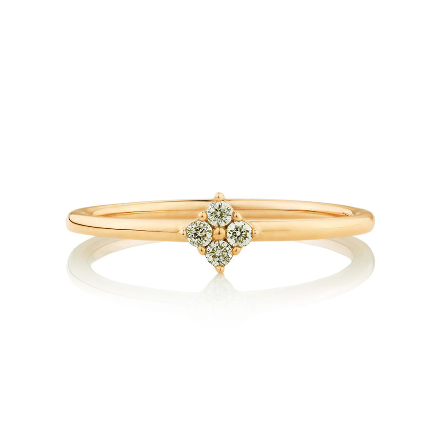 Flower Stacker Ring with Diamonds in 10ct Yellow Gold