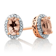 Stud Earrings with Morganite & 0.12 Carat TW of Diamonds in 10ct Rose Gold