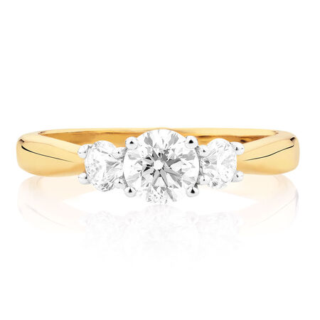 Engagement Ring with 1 Carat TW of Diamonds in 18ct Yellow & White Gold