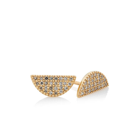 Earrings with 0.16 Carat TW of Diamonds in 10ct Yellow Gold