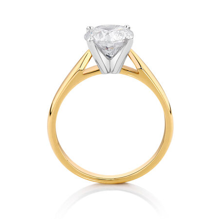 Solitaire Engagement Ring with a 2 Carat Diamond in 14ct Yellow & White Gold