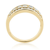 Three Row Ring with 1 Carat TW of Diamonds in 10 ct Yellow Gold