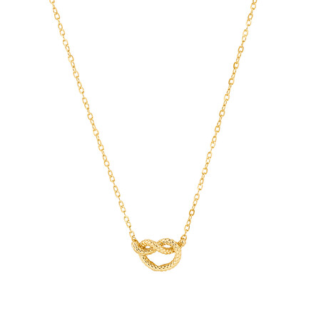 Overhand Rope Knot Necklace in 10ct Yellow Gold
