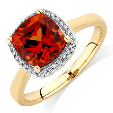 Ring with Created Orange Sapphire & Diamonds in 10ct Yellow Gold
