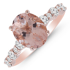 Ring with Morganite & 0.50 Carat TW of Diamonds in 10ct Rose Gold