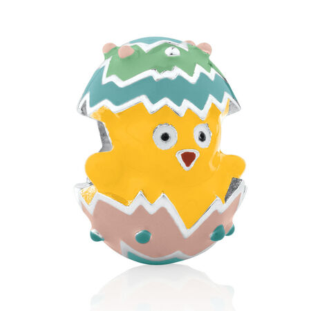Chick & Easter Egg Charm in Enamel & Sterling Silver