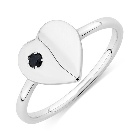 Heart Signet Ring with Natural Black Sapphire in Sterling Silver