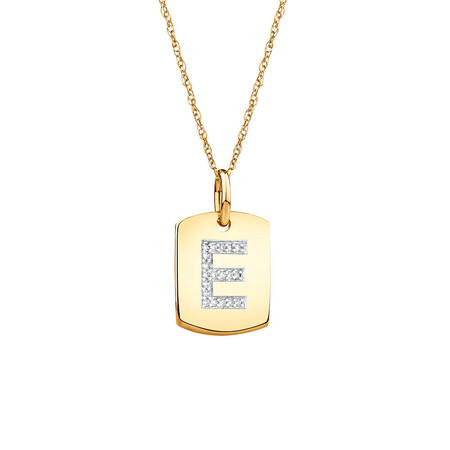 """E"" Initial Rectangular Pendant With Diamonds In 10ct Yellow Gold"