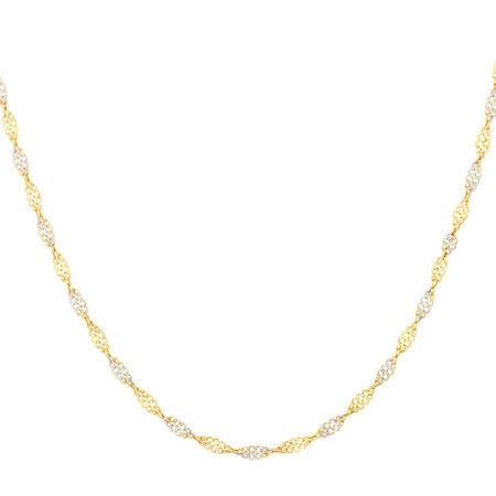 """45cm (18"""") Singapore Chain in 10ct Yellow & White Gold"""