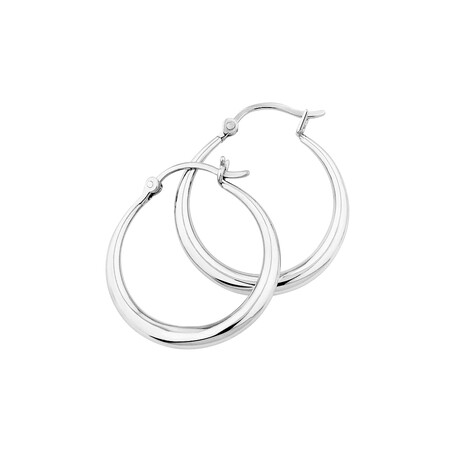 25mm Round Hoop Earrings in Sterling Silver