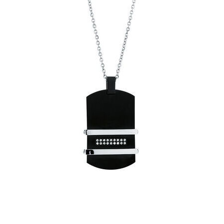 Men's Pendant with Cubic Zircona in Black PVD Plated Stainless Steel