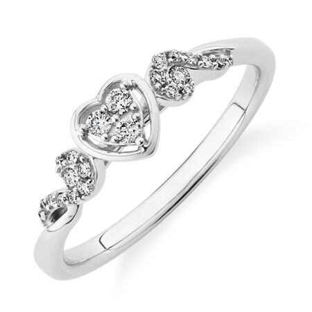 Evermore Promise Ring with 0.14 Carat TW of Diamonds in 10ct White Gold