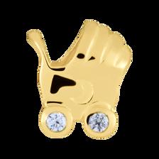 Diamond Set & 10ct Yellow Gold Pram Charm
