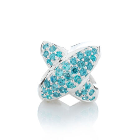 Online Exclusive - Letter 'X' Charm with Aqua Cubic Zirconia in Sterling Silver