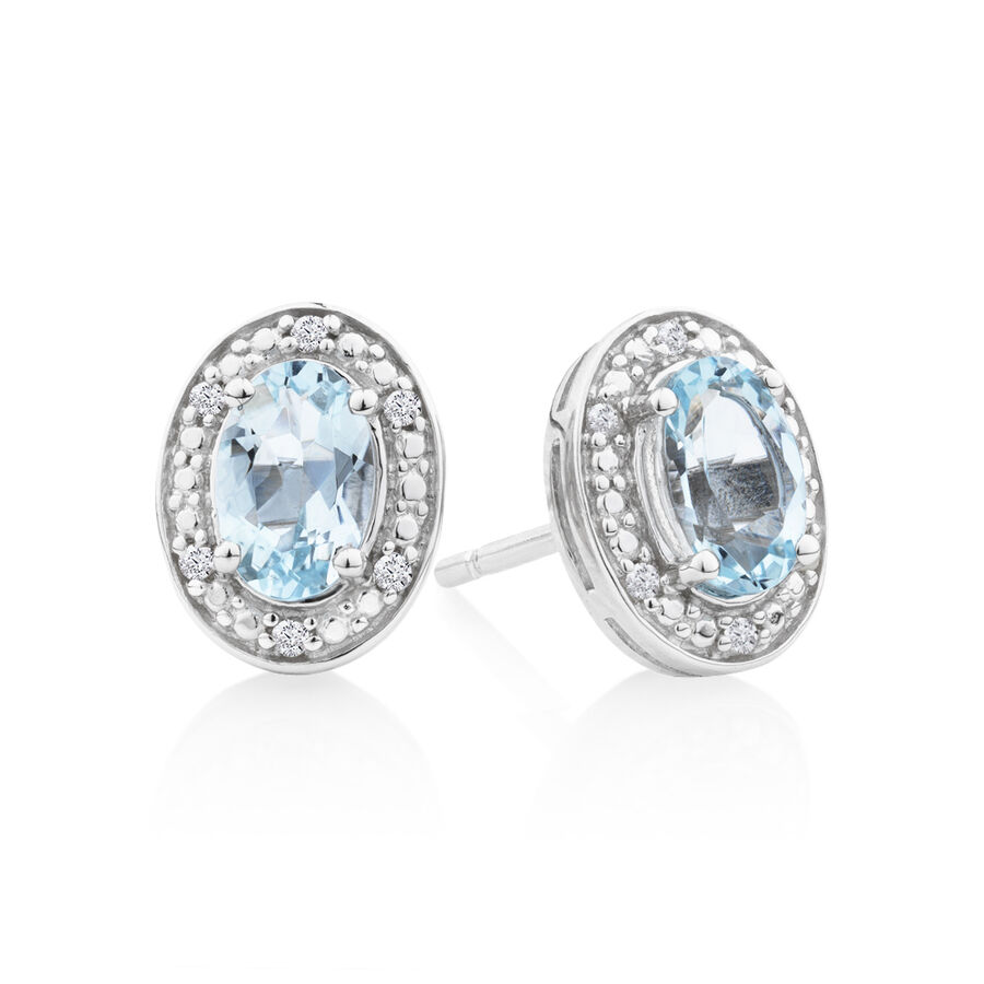 Halo Earrings with Aquamarine and 0.04 Carat TW of Diamonds in Sterling Silver