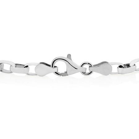"""19cm (7.5"""") Diamond Set Belcher Bracelet in Sterling Silver"""