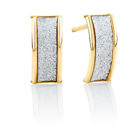Glitter Band Stud Earrings in 10ct Yellow Gold