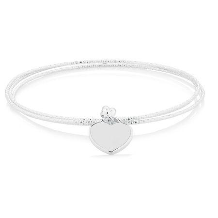 Heart Dangle Bangle in Sterling Silver