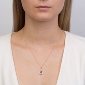 Pendant with Amethyst & Diamond in 10ct Yellow & White Gold