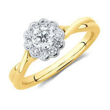 Southern Star Engagement Ring with 1/2 Carat TW of Diamonds in 14ct Yellow & White Gold