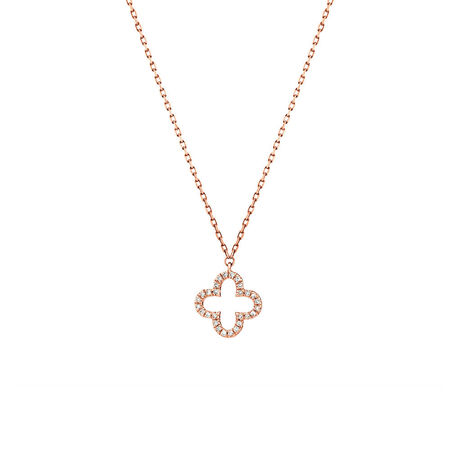 4 Leaf Clover Pendant With Diamonds In 10ct Rose Gold