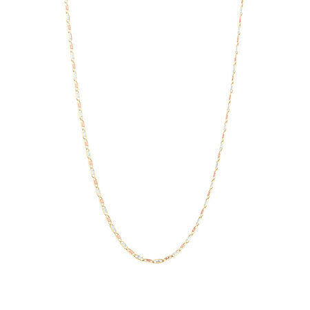 "50cm (20"") Solid Chain in 10ct Yellow, Rose & White Gold"
