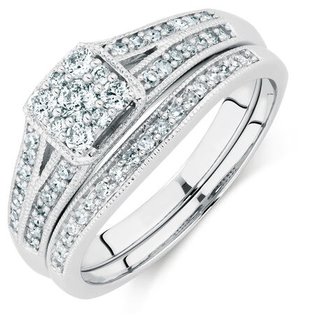 Bridal Set with 1/2 Carat TW of Diamonds in 10ct White Gold