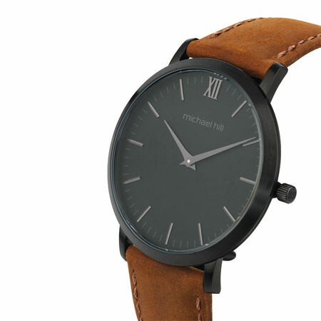 Men's Watch in Black PVD Plated Stainless Steel & Brown Leather