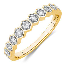 1/4 Carat TW Diamond Honeycomb Stacker Ring in 10ct Yellow Gold